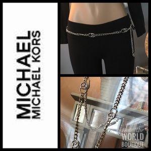 NWT Michael Kors Silver Chain Logo Belt